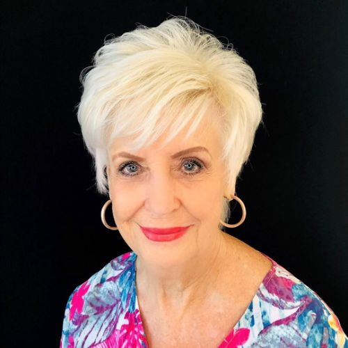 Blonde Pixie for a 60 Year Old Woman