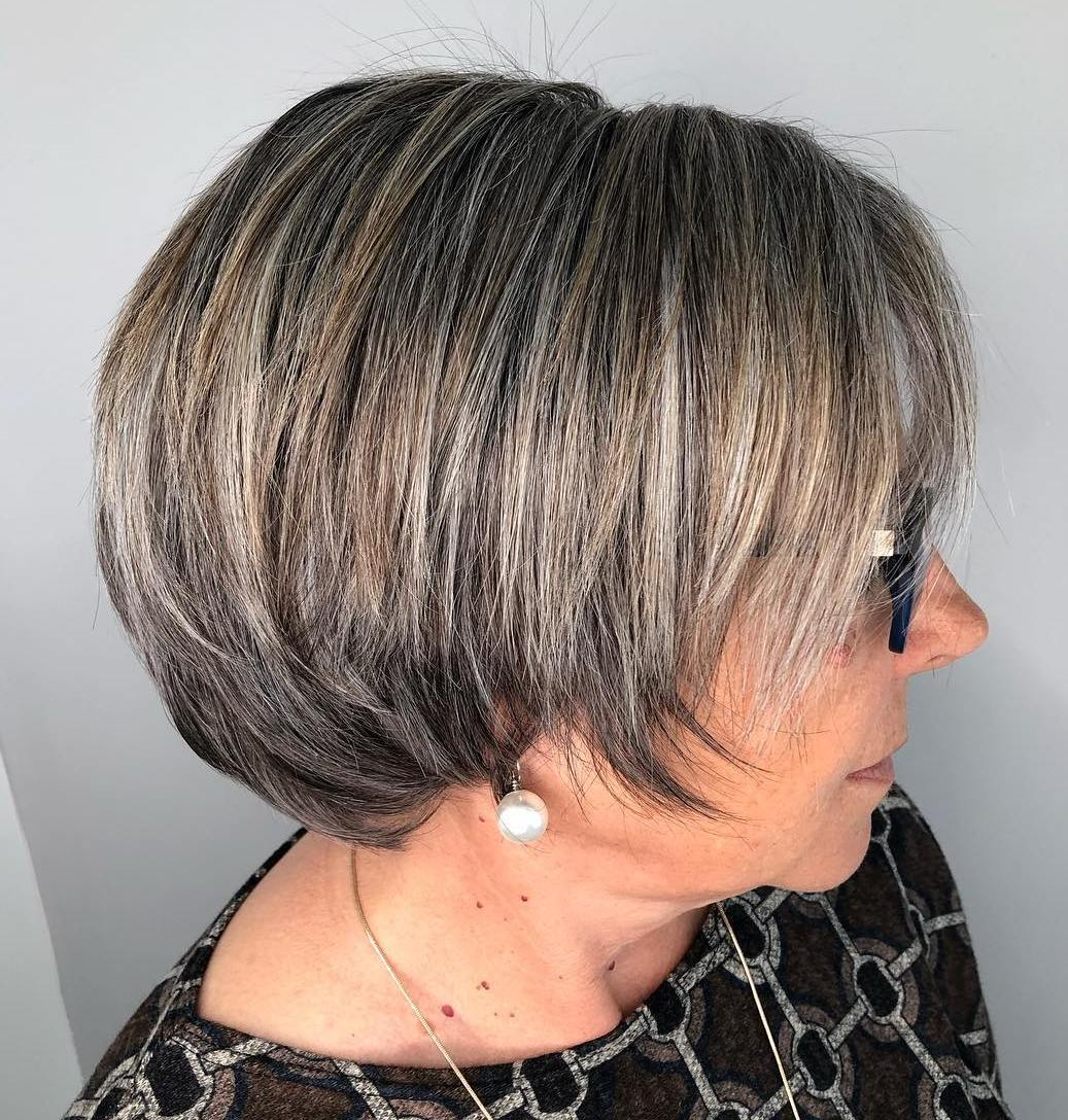 Short Brown Bob with Gray Highlights