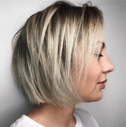 Messy Straight Bob with Highlights