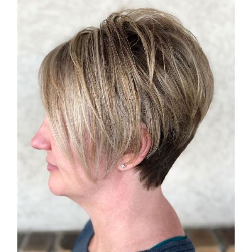 Tapered Long Pixie for a Chubby Face