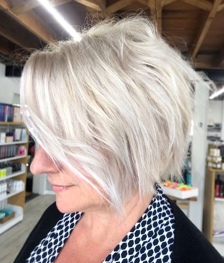 Messy White Blonde Bob