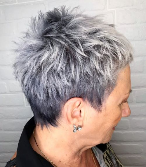 Over 50 Messy Style for Short Gray Hair