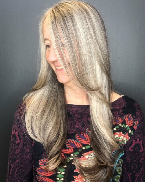 Long Gray Hair with Layers and Lowlights