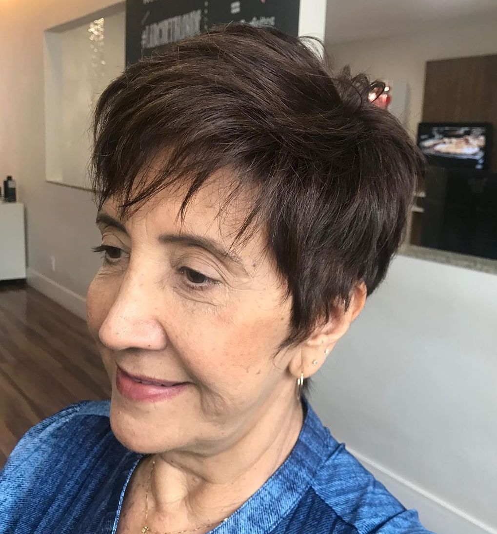 Chocolate Brown Pixie with a Piece-y Fringe