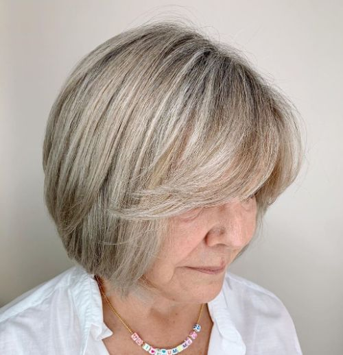 Short Rounded Gray Blonde Bob
