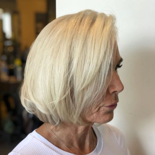 Trendy Blonde Bob for a 60 Year Old Woman