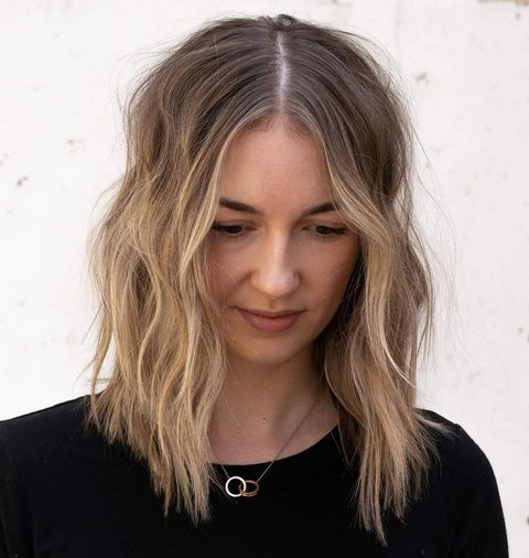 Thin Medium Hair with Blonde Balayage