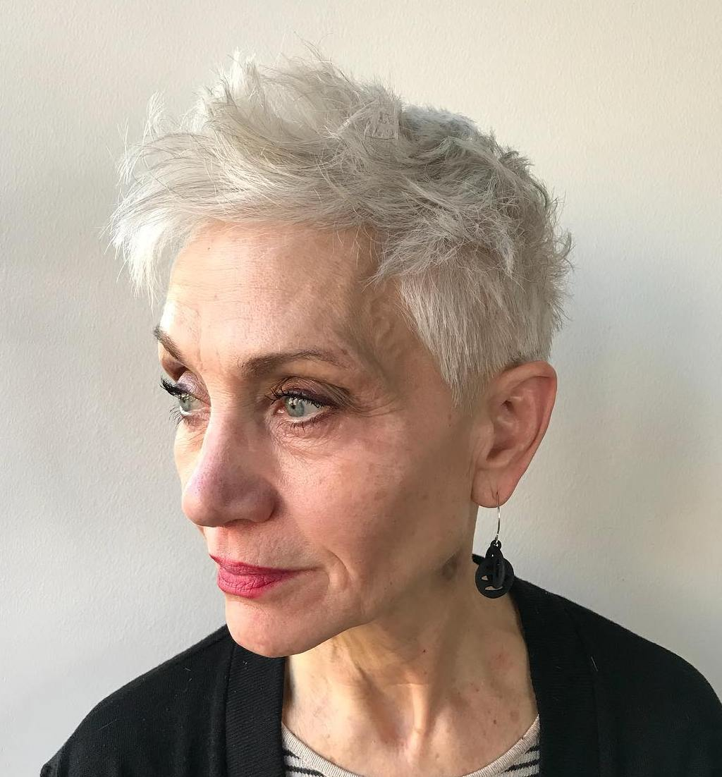 Gray Spiky Pixie with a Fringe