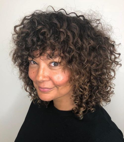 Medium Cut with Layers for Curly Hair