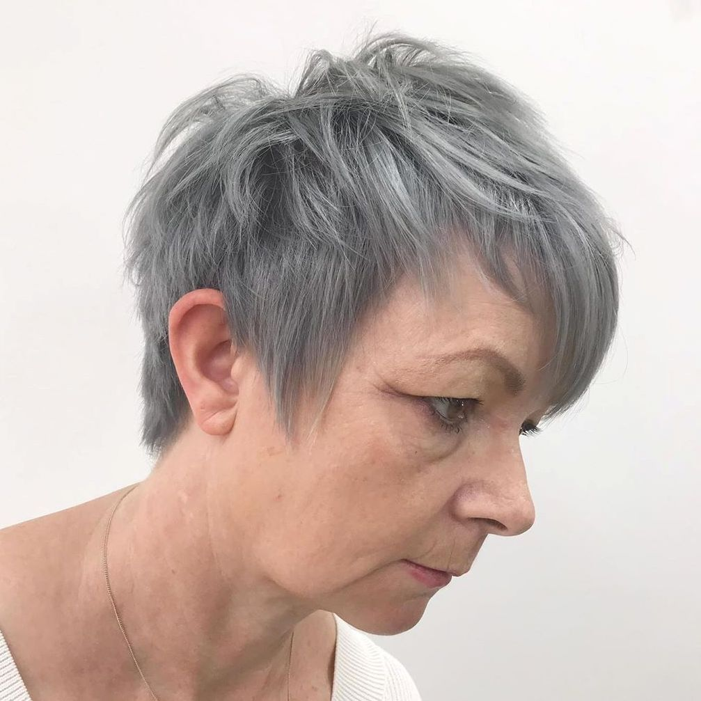 Layered Gray Pixie Haircut