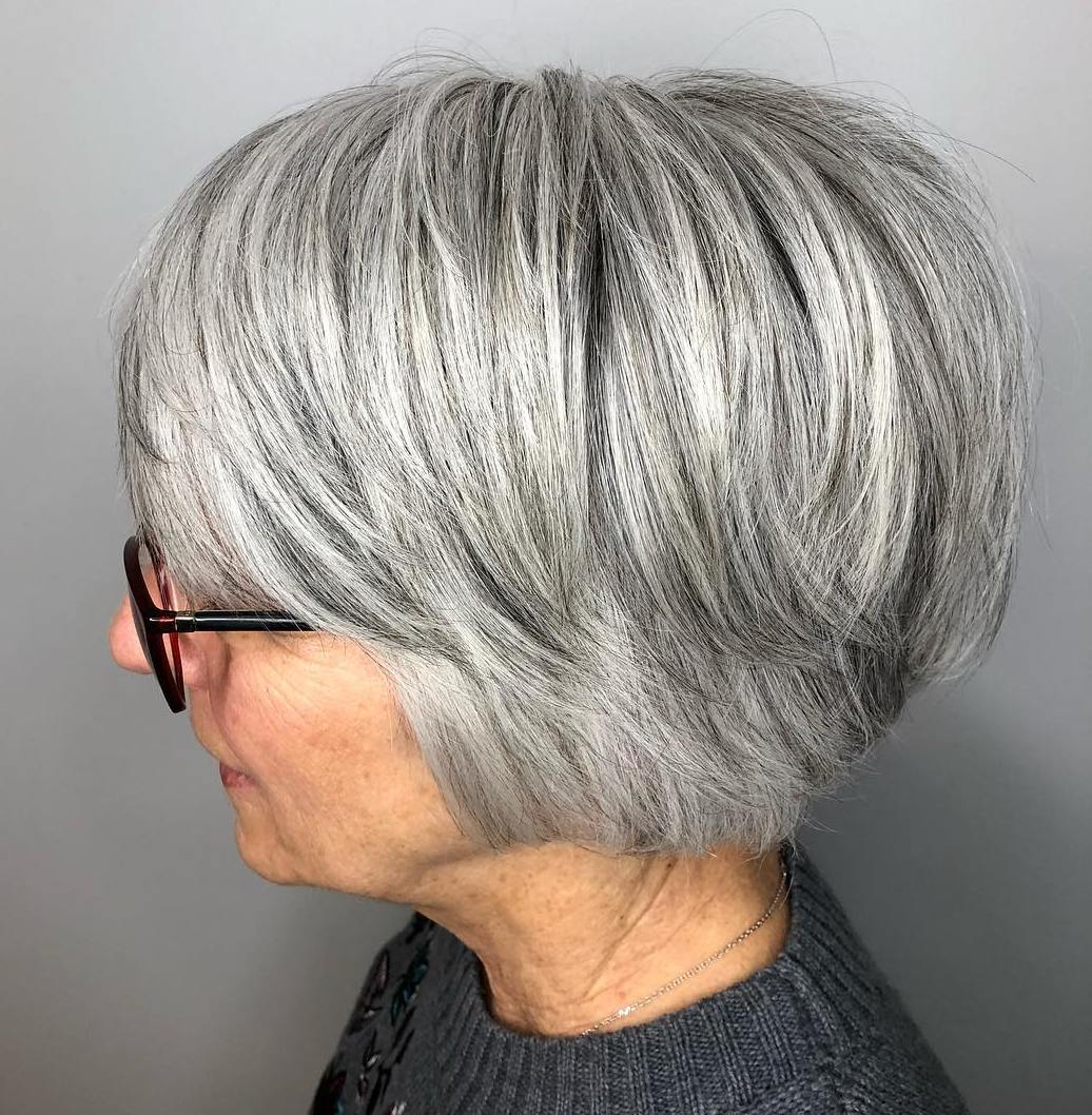 Salt and Pepper Bob for Women with Glasses
