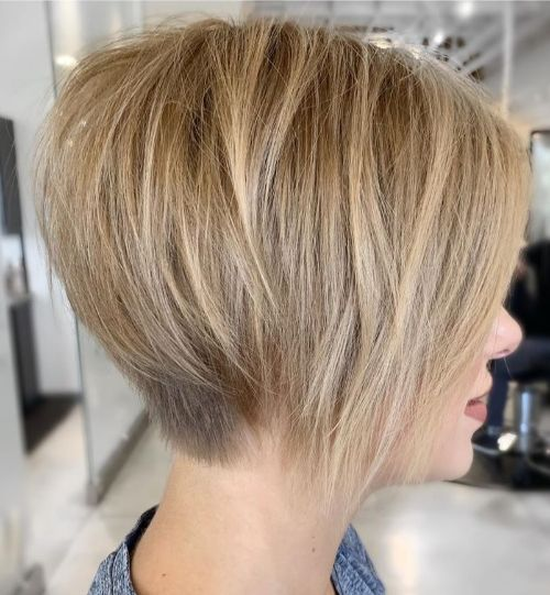 Cute Blonde Wedge Cut for Fine Hair