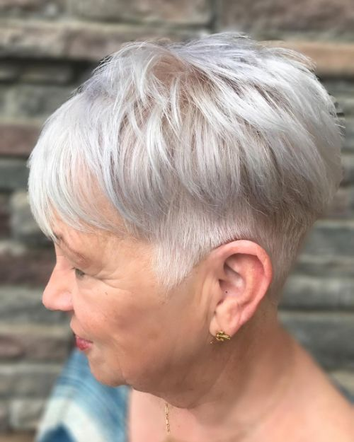 Silver Gray Pixie for Women Over 60