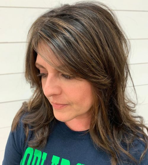 Medium-Length Layered Brunette Hair