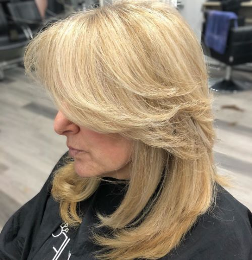 Mid-Length Haircut with Swoopy Layers