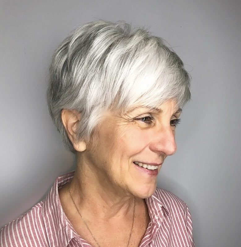 Gray and White Pixie with a Fringe