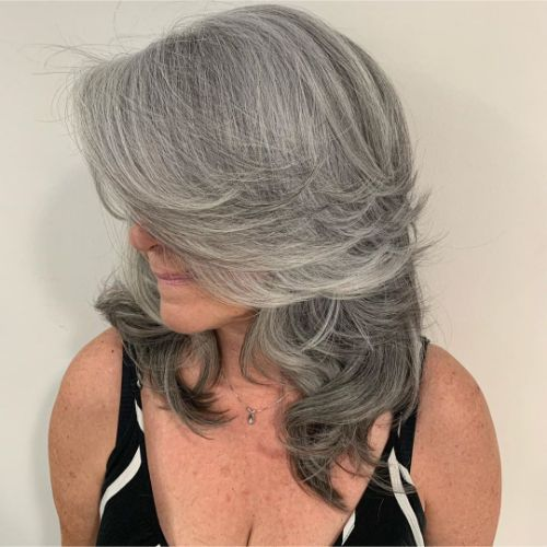Medium-Length Gray Haircut for Older Women