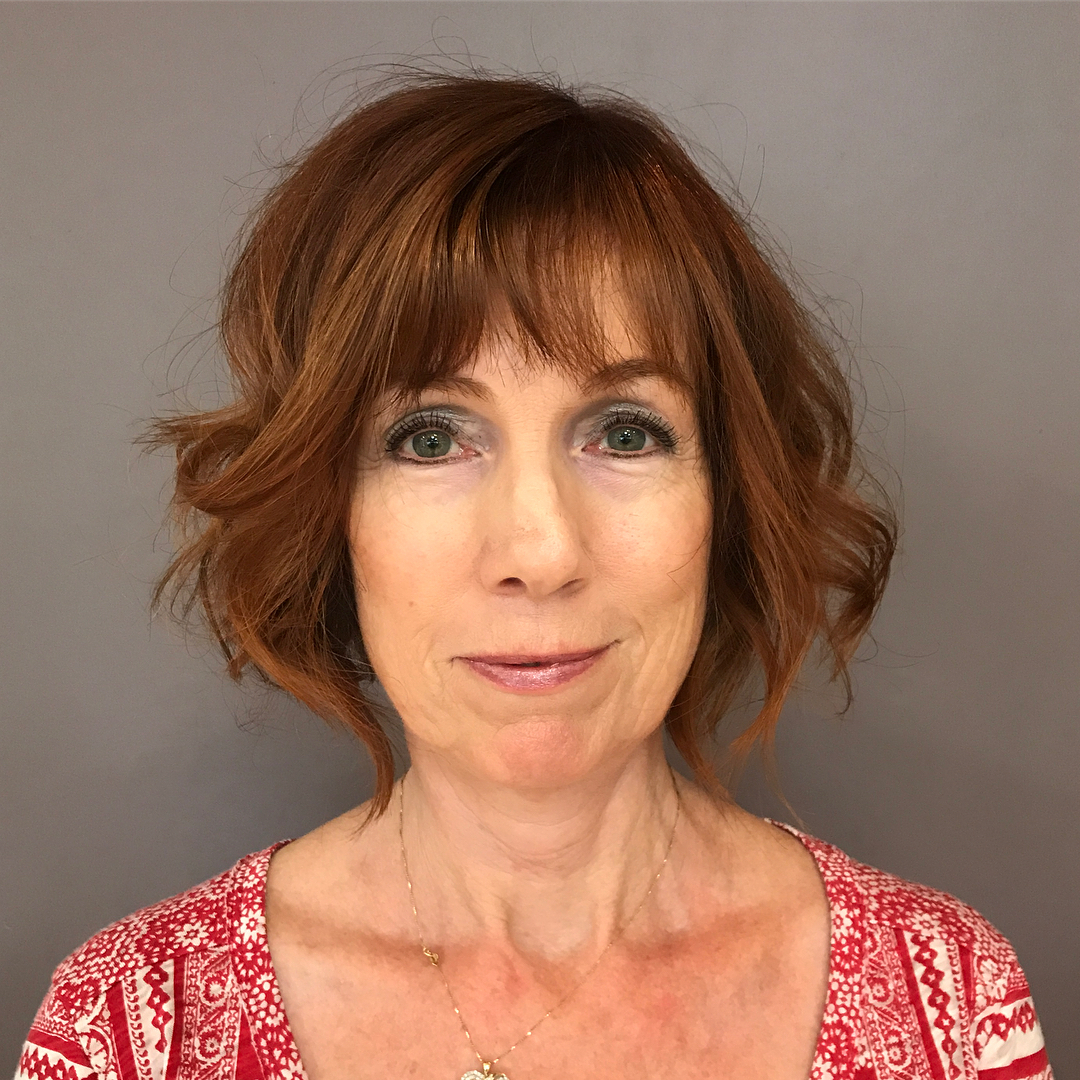 Over 60 Curly Red Bob with Bangs