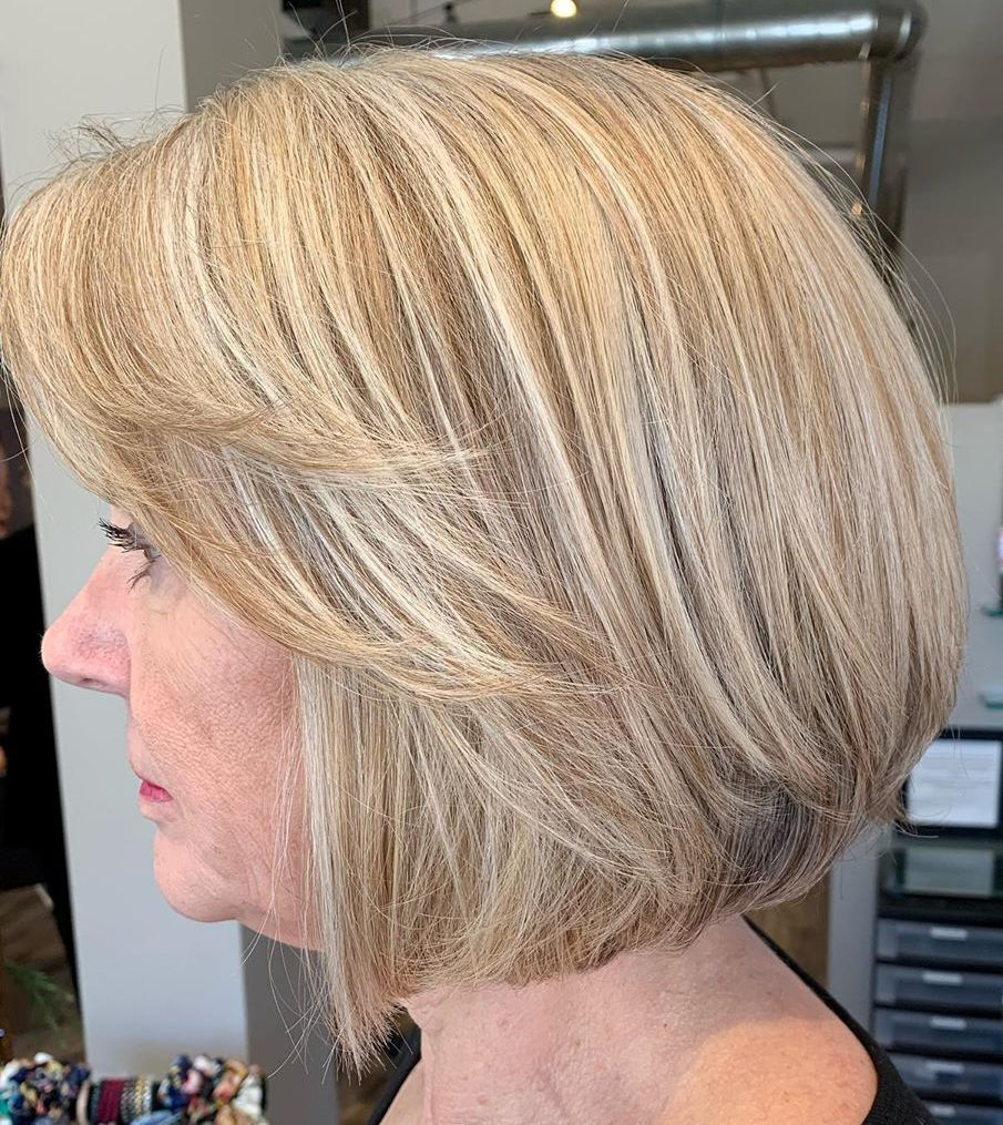 Short Golden Blonde Bob with Ash highlights