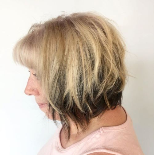 Messy Bob with Bangs for Older Women