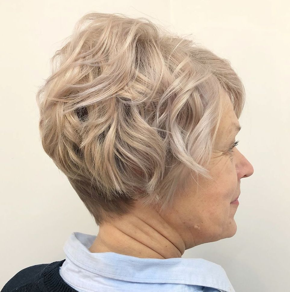 Over 50 Permed Ash Blonde Pixie