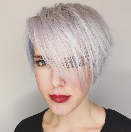 White Short Asymmetrical Pixie Bob