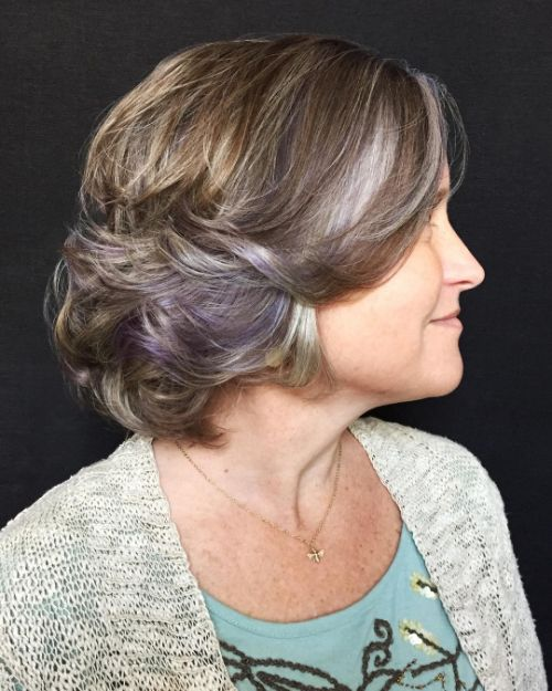 Short Haircut with Pastel Purple Highlights