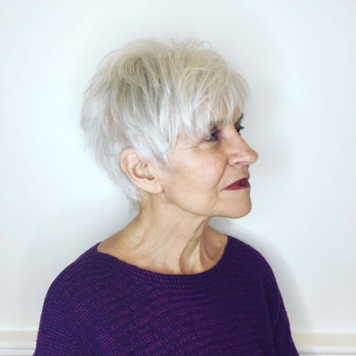 Shaggy Pixie Haircut for Older Women