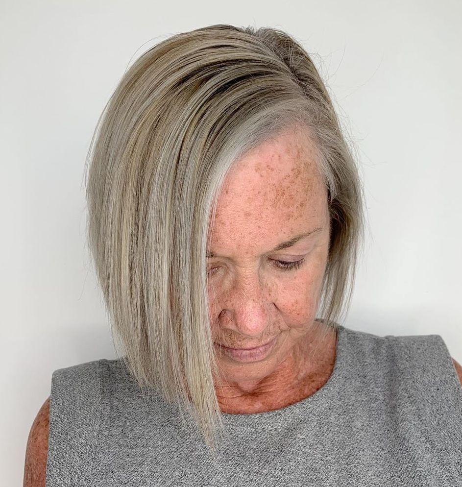 Over 50 Asymmetrical Bob for Fine Hair