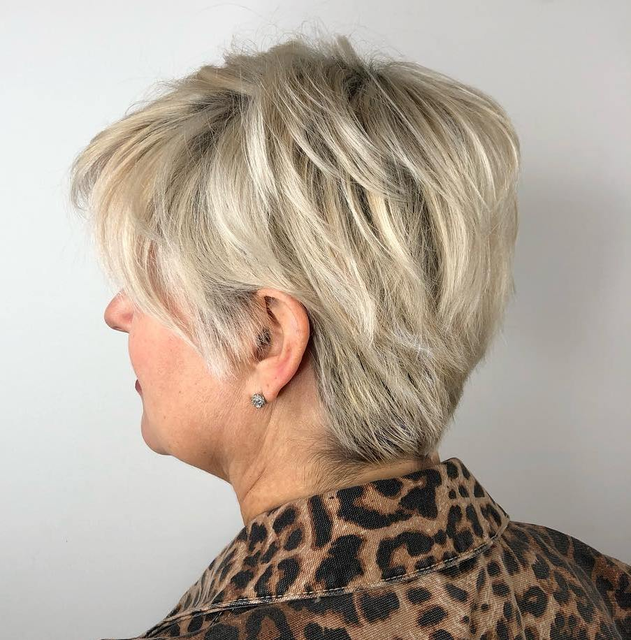 Over 50 Blonde Layered Pixie