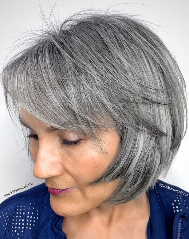 Angled Salt and Pepper Bob with Bangs