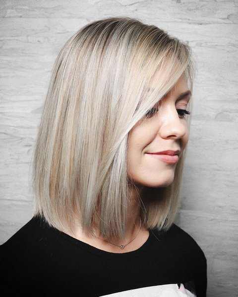 Straight Blonde Lob for Thin Hair