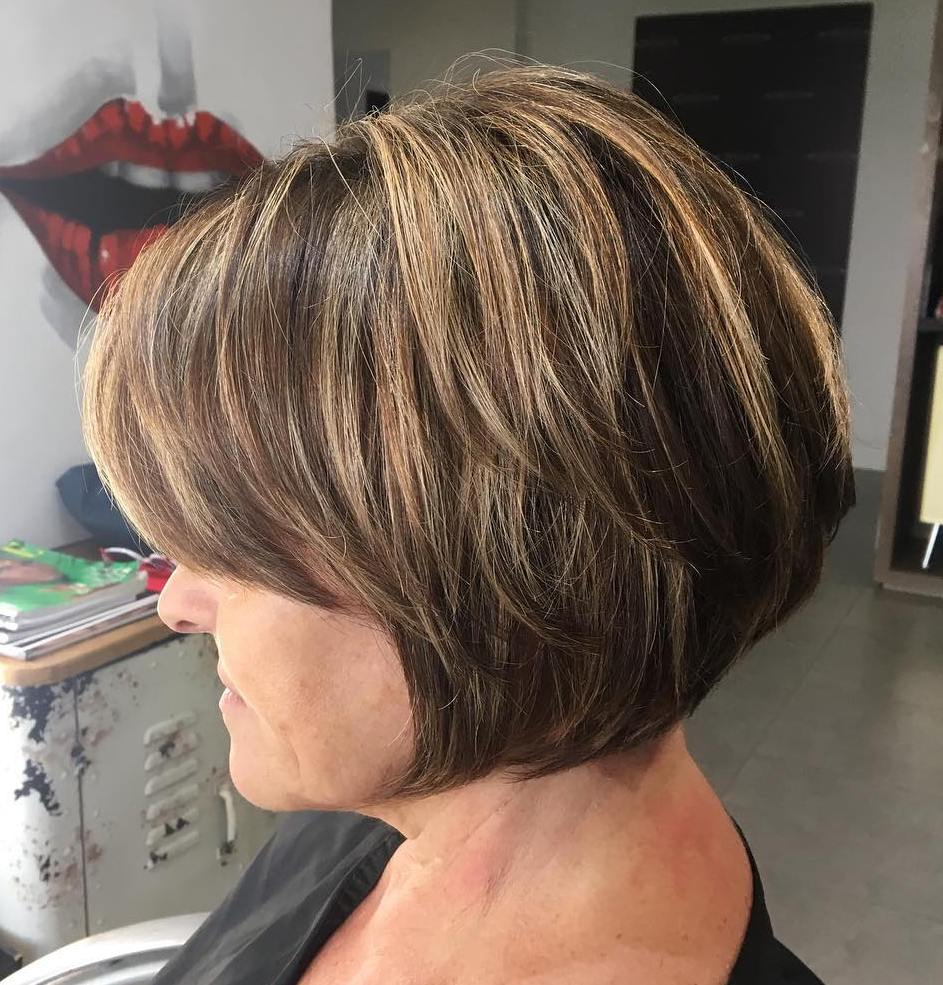 Over 60 Short Bob for Ladies with Round Faces