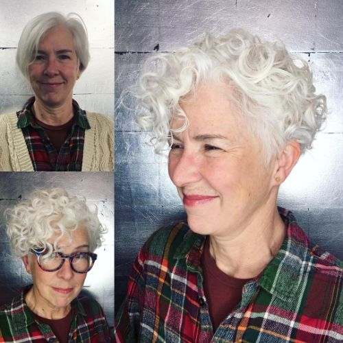 Over 60 Permed Short Curly Pixie