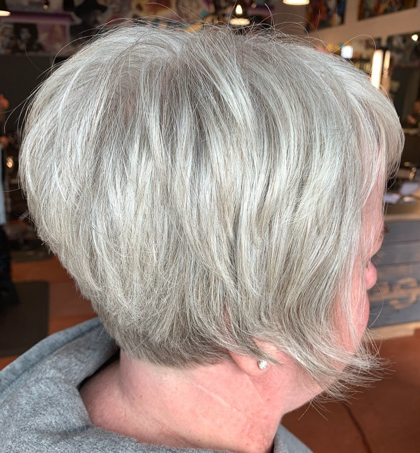 Stacked Pixie Bob for Women with Gray Hair