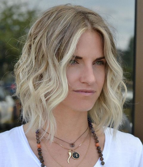 Blonde Angled Bob with Scrunched Waves