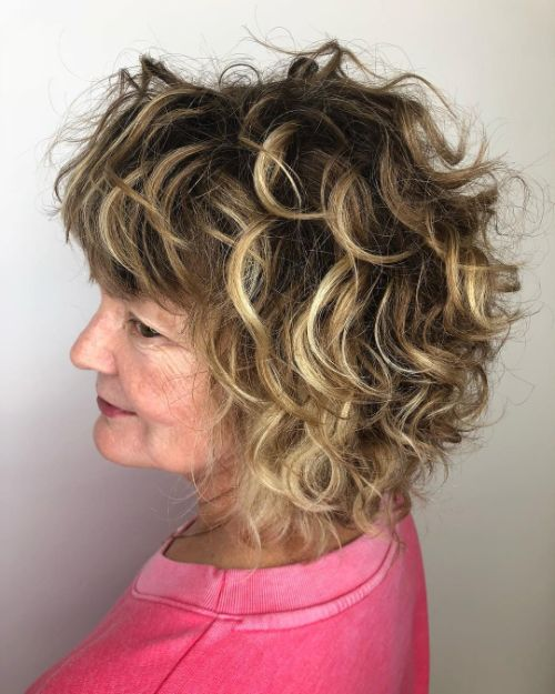 60+ Bob with Bangs for Curly Hair